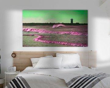 Golf voor het Scheveningse noorderhavenhoofd groen van Wen van  Gampelaere