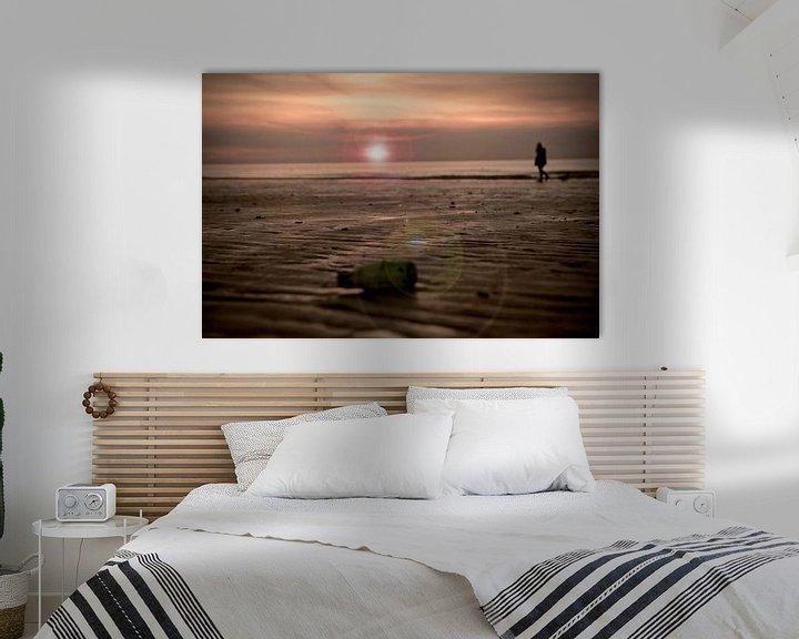 Sfeerimpressie: Zonsondergang strand Westende Belgie van Jasper van de Gein Photography