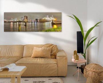in Rotterdam uitzicht op luxe cruise-schepen.