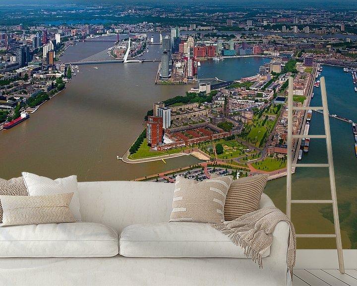 Sfeerimpressie behang: Luchtfoto Katendrecht te Rotterdam van Anton de Zeeuw