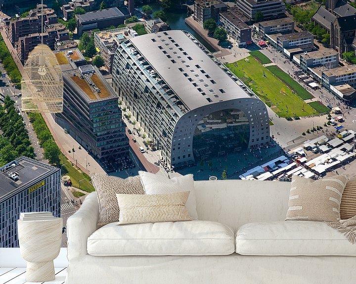 Sfeerimpressie behang: Luchtfoto Markthal 1 van Anton de Zeeuw