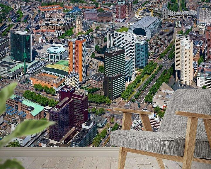 Sfeerimpressie behang: Luchtfoto Churchillplein te Rotterdam van Anton de Zeeuw