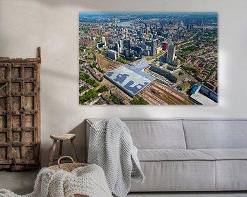 Luchtfoto centrum Rotterdam en Centraal Station
