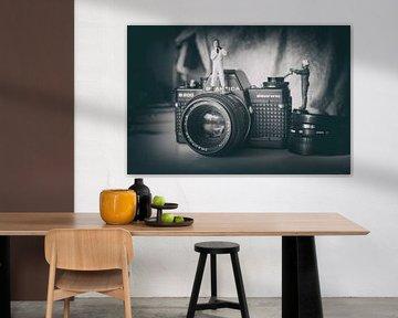 Miniatur-Welt Vintage-Kamera Flieger schwarz und weiß
