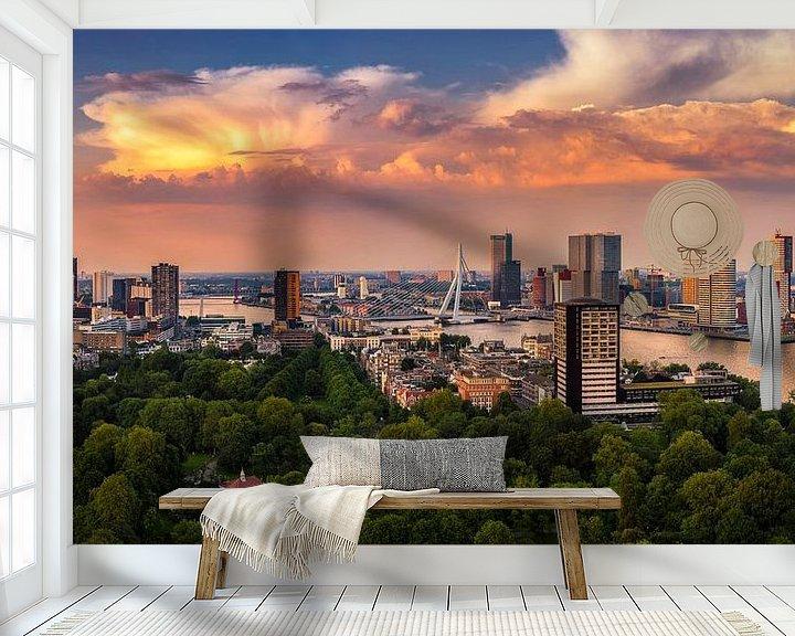 Sfeerimpressie behang: Rotterdam Skyline Panorama vanaf Euromast 2:1 van Vincent Fennis