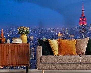 Manhattan New York met het Empire State Building in de avond, panorama van Merijn van der Vliet