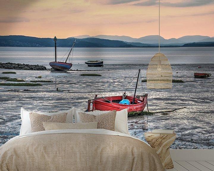Sfeerimpressie behang: Laagwater in de baai van Morecambe van Frans Blok