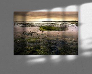Zonsondergang over de waddenzee bij eb van Bas Witkop