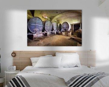 Verlassene Weinfässer im Keller. von Roman Robroek