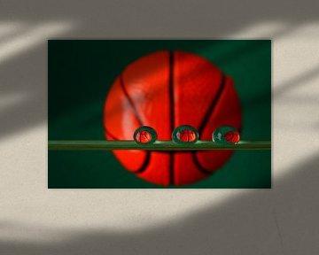 Jouer le jeu, le basket-ball dans des gouttelettes d'eau sur Inge van den Brande