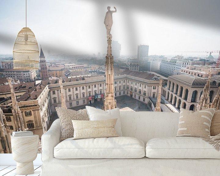 Sfeerimpressie behang: Uitzicht op Milaan van Frenk Volt