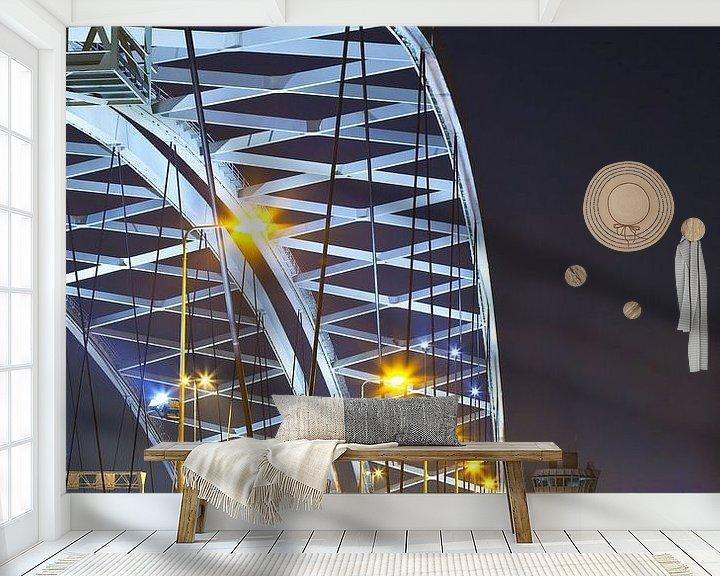 Sfeerimpressie behang: Van Brienenoordbrug boog te Rotterdam van Anton de Zeeuw