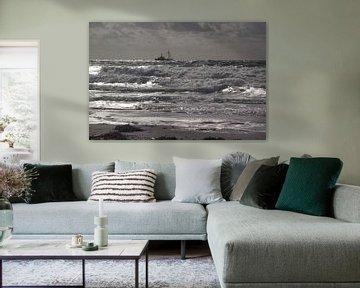 Zilverschittering schip op zee sur Yvonne de Waal Malefijt
