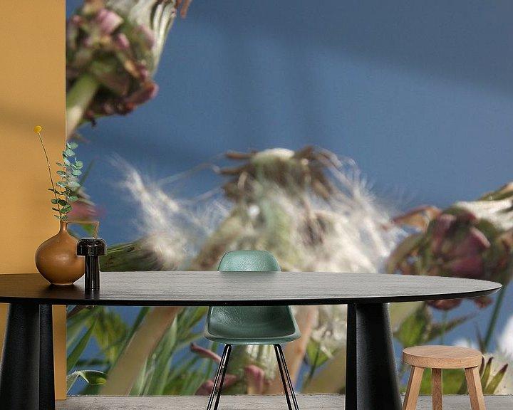 Sfeerimpressie behang: de Paardenbloem, the dandelion, der lowenzahn, le dent de lion, taraxacum van Yvonne de Waal Malefijt