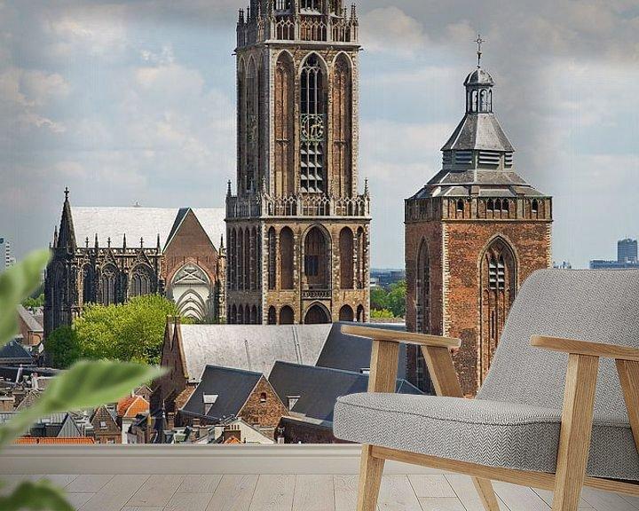 Sfeerimpressie behang: Domtoren en Buurtoren Utrecht van Anton de Zeeuw