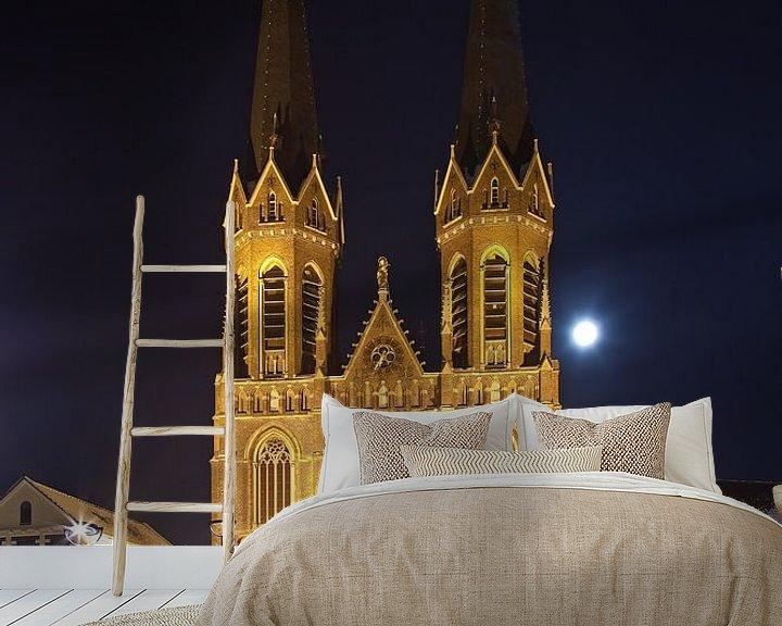 Beispiel fototapete: Nacht Foto St. Joseph Kirche in Tilburg von Anton de Zeeuw
