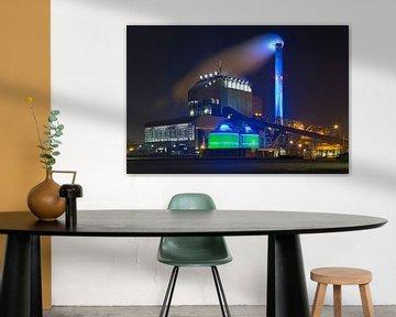Nuit photo centrale électrique à Nimègue qu'Electrabel