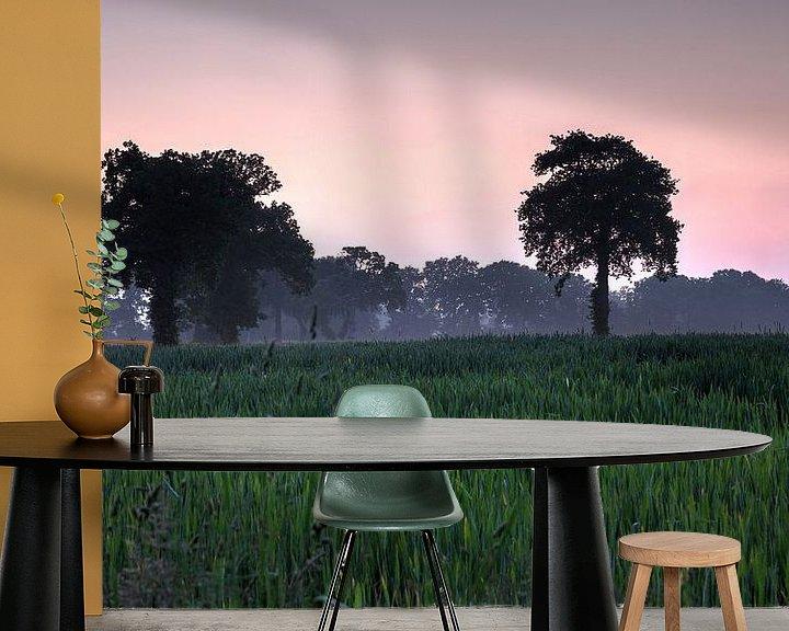 Sfeerimpressie behang: Frankrijk Cerisy -la -Forêt bomen van Rob van der Teen