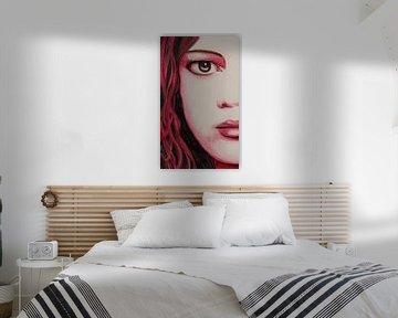 Red girl watercolor