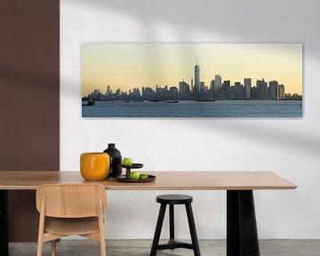 Manhattan skyline in de ochtend gezien vanaf Staten Island, panorama sur Merijn van der Vliet