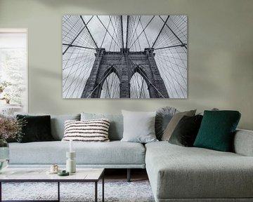 New York - Brooklyn Bridge lijnenspel van Tux Photography
