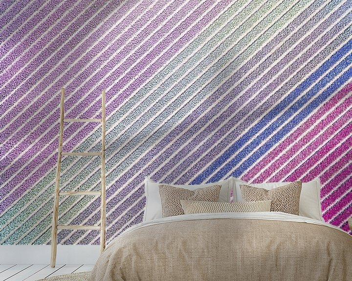 Sfeerimpressie behang: Diagonale hyacinten van Fotografie Egmond