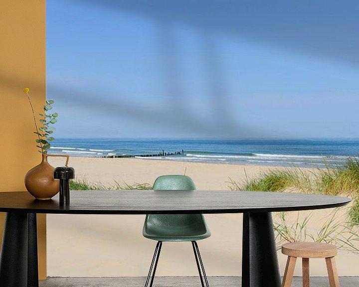 Sfeerimpressie behang: Zomer op het strand aan de Noordzee van Sjoerd van der Wal