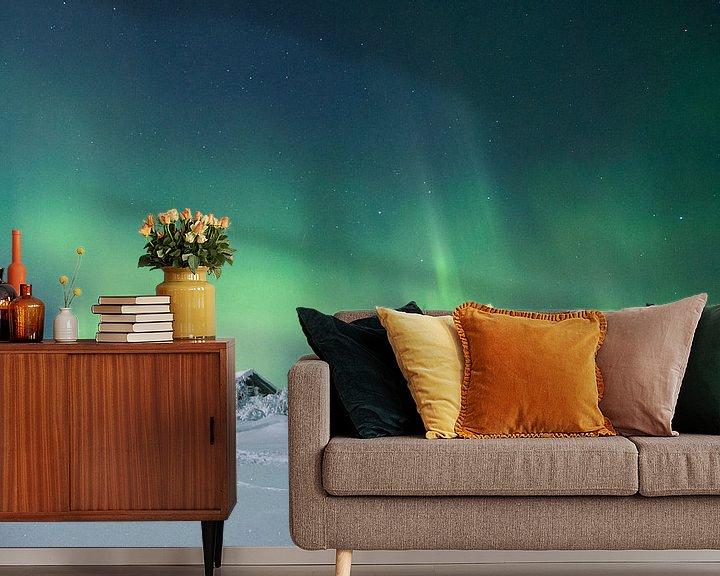 Beispiel fototapete: Landschaft von Noorderlicht und Haus in Finnland von Hans Kluppel