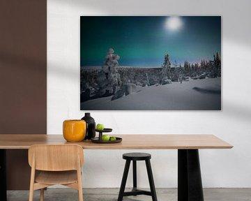 Paysage de Noorderlicht Finlande sur Hans Kluppel