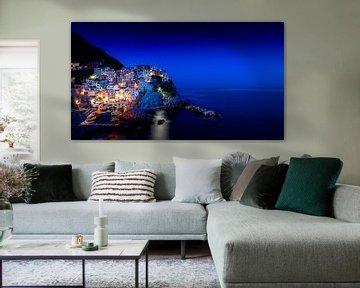 Manarola, Cinque Terre Nacht opname, Liguria Italy van Ruurd Dankloff