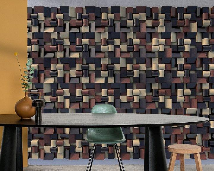 Sfeerimpressie behang: Reliëf N1 Chocola van Frans Blok