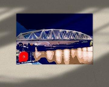 Spoorbrug en Snelbinder over de Waal in Nijmegen