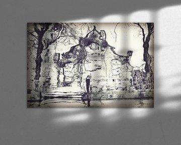 Amsterdam gracht reflectie van Marianna Pobedimova