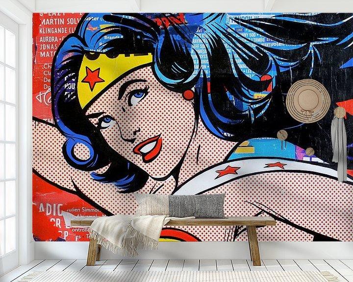 Sfeerimpressie behang: I don't believe in super men van Michiel Folkers