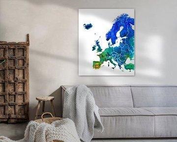 Kaart van Europa in Aquarel