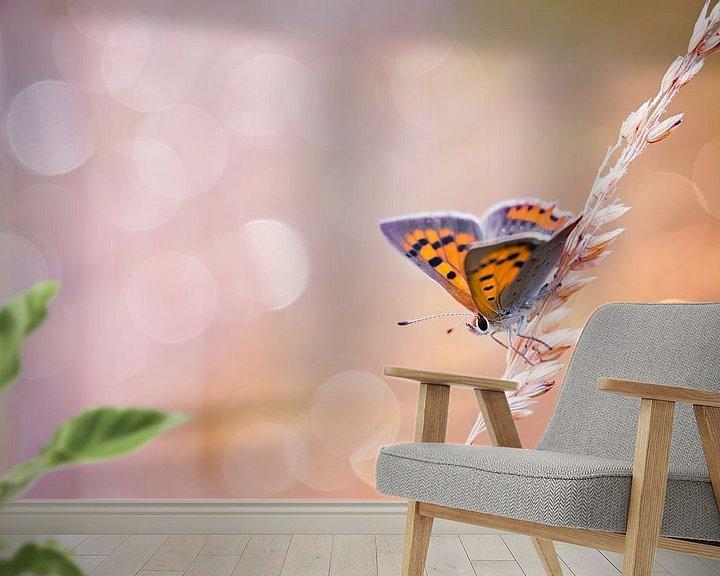 Sfeerimpressie behang: Kleine vuurvlinder vlinder met mooie achtergrond van Mark Scheper