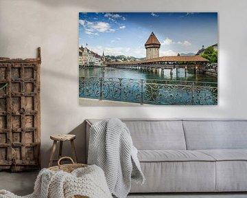 LUCERNE Chapel Bridge & Water Tower van Melanie Viola