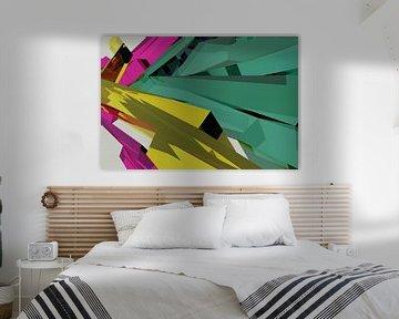 Tha Maze 6-2-5 (on White) van Pat Bloom - Moderne 3D, abstracte kubistische en futurisme kunst