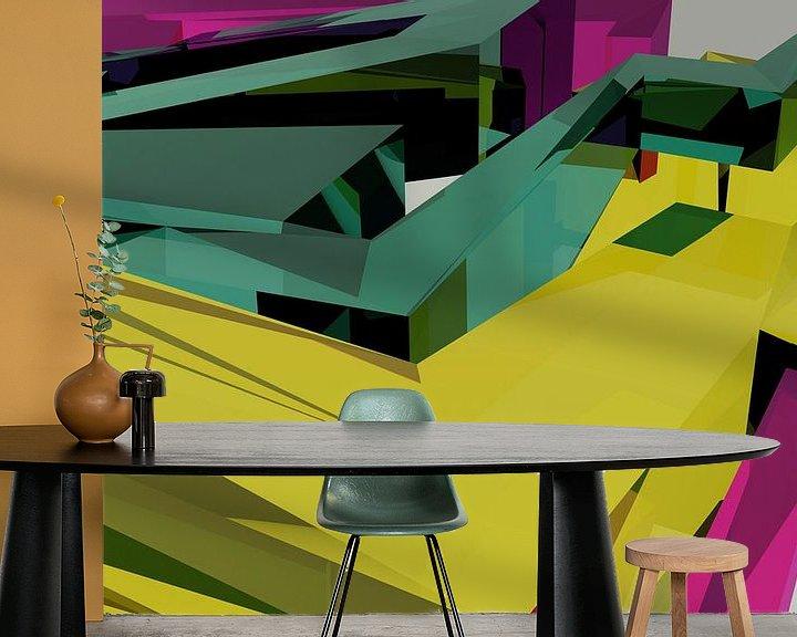 Beispiel fototapete: Tha Maze 6-2-6 (on White) von Pat Bloom - Moderne 3D, abstracte kubistische en futurisme kunst