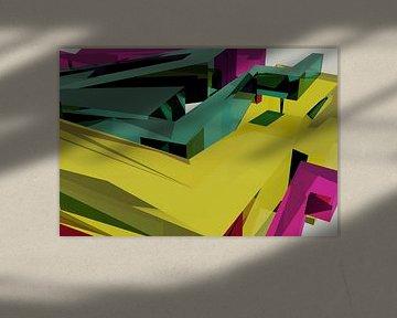 Tha Maze 6-2-6 (on White) van Pat Bloom - Moderne 3D, abstracte kubistische en futurisme kunst