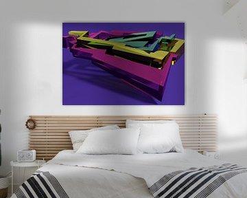 Tha Maze 6-2-2 (on Blue) van Pat Bloom - Moderne 3D, abstracte kubistische en futurisme kunst