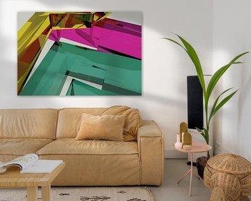 Tha Maze 6-2-4 van Pat Bloom - Moderne 3D, abstracte kubistische en futurisme kunst