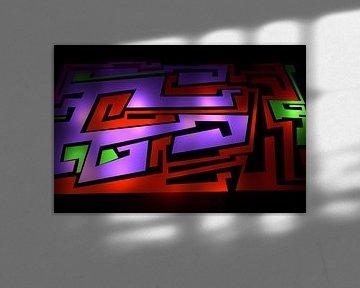 Tha Maze 3-1 von Pat Bloom - Moderne 3D, abstracte kubistische en futurisme kunst