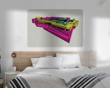 Buntes 3D-Graffiti-Objekt auf grauem Hintergrund von Pat Bloom - Moderne 3D, abstracte kubistische en futurisme kunst