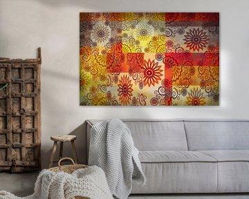 Fröhlich Collage von Sternen, rot und gelb. Muster von Rietje Bulthuis