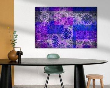 Collage von Sternen, blau und lila von Rietje Bulthuis