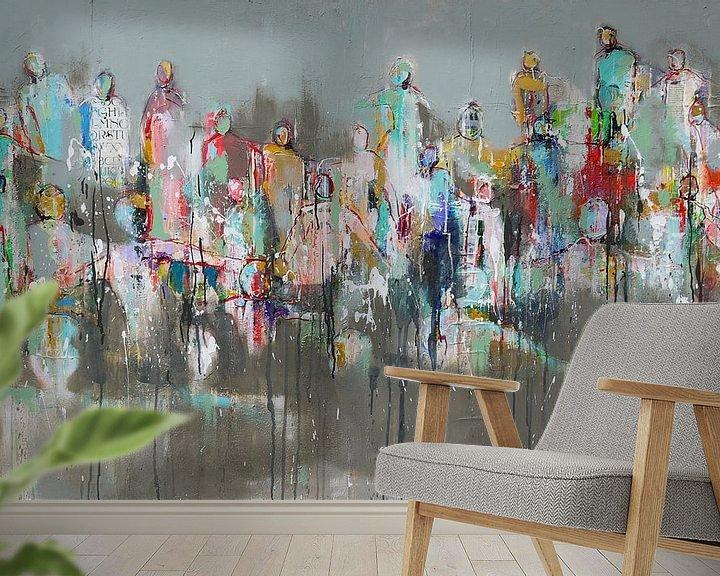 Sfeerimpressie behang: Connected people Spring van Atelier Paint-Ing