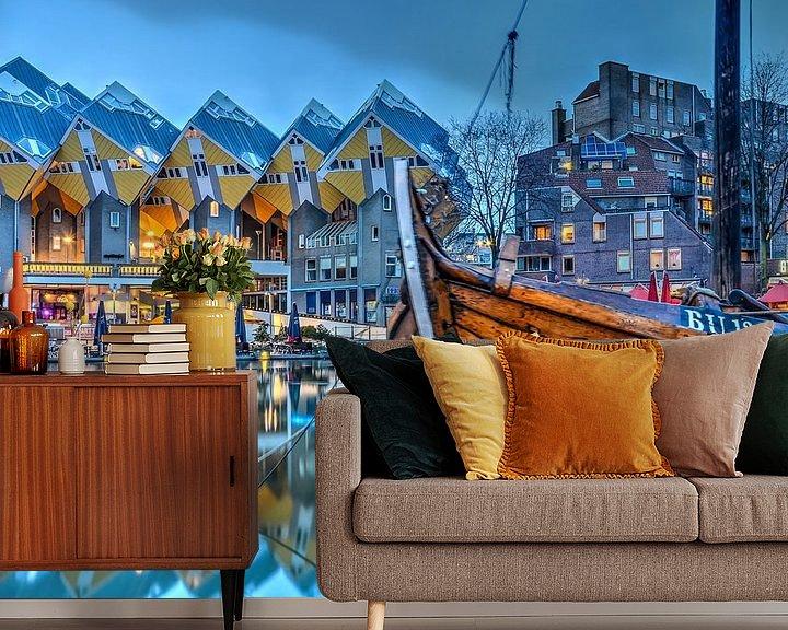 Sfeerimpressie behang: De Oude Haven en de Kubuswoningen van Frans Blok