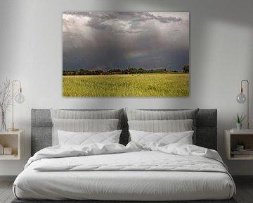 Regenboog tijdens een storm