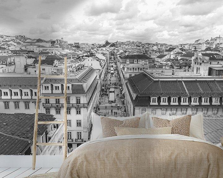 Sfeerimpressie behang: Rua Augusta in Lissabon van MS Fotografie | Marc van der Stelt